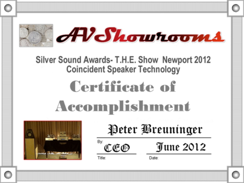 Coincident Speakers - Silver Sound Award